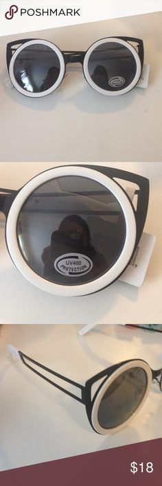 Trendy Cat eye bomb circle sunglasses Brand new with tag. UV400 Protection. Retail: $18. Reasonable offers are welcome. Color: white and black. Boutique Accessories Sunglasses