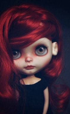 Red Blythe. | Red hair and green eyes blythe doll | BJD, custom doll, closeup