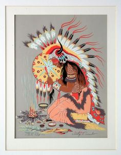 """Medicine song by Woodrow Wilson """"Woody"""" Crumbo (January 21, 1912—April 4, 1989), Potawatomi - an artist, flautist, and dancer who lived and worked mostly in the West of the United States."""