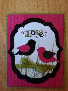Stampin Up valentine's day card - love birds., via Etsy.