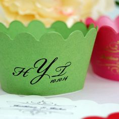 Personalized Monogram Cupcake Wrappers by Beau-coup