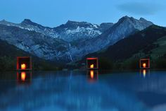 Cambrian Hotel, Switzerland The rejuvenating waters of this outdoor pool are equipped with floating massage beds, jets, and a heating element that makes you feel like you're skinny dipping in a hot spring. Plus: breathtaking views of snow-capped mountains. Yer welcome