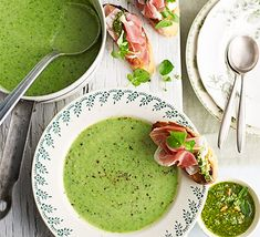 Asparagus, peas and watercress blend beautifully in this vibrant green soup with ciabatta toasts - serve as a starter or a light lunch