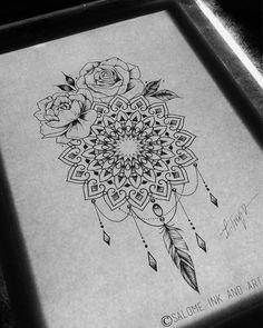 Rose mandala with dream catcher feathers compass tattoo, artsy, ink, tattoos, zentangle Neue Tattoos, Body Art Tattoos, Tattoo Drawings, Cool Tattoos, Tatoos, Ink Tattoos, Dream Catcher Tattoo, Dream Catchers, Mandala Tattoo Design