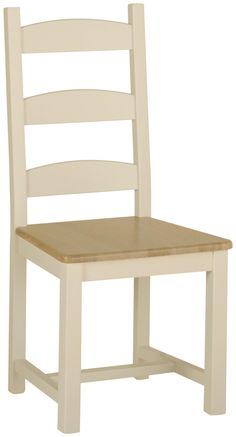 Emily Beech Amish Chair (Oak, Upholstered or Faux Leather seat)  Painted Ivory