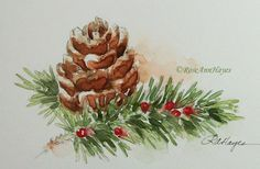 Original Watercolor Painting Pine Cone Still Life от RoseAnnHayes by blanche Watercolor Christmas Cards, Christmas Drawing, Christmas Paintings, Watercolor Cards, Christmas Art, Watercolour Painting, Watercolor Flowers, Painting Prints, Painting Flowers