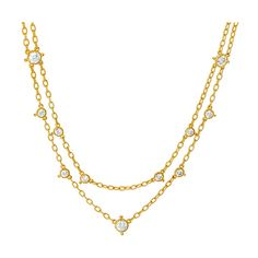 Judith Ripka Diamonique® & Yellow Gold Faceted Layered Necklace ($155) ❤ liked on Polyvore featuring jewelry, necklaces, 14 karat gold necklace, 14k gold jewelry, gold bead necklace, 14 karat gold jewelry and gold jewelry