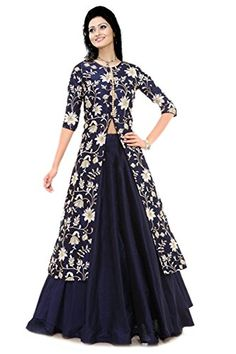 Z Fashion Trend: BLUE COTTON EMBROIDERED INDO WESTERN DRESS