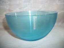 Vintage Blue Turquoise Threaded Reeded Crystal Small Bowl Depression Glass