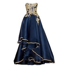 Dresses ❤ liked on Polyvore featuring dresses, gowns, vestidos, blue evening gown, blue ball gown, blue evening dresses, blue dress and blue gown
