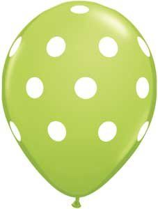 Big Polka Dots Lime Green Latex Balloons