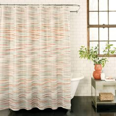Wonderful Featuring A Beautiful Horizontal Brushstroke Design In Light Grey With Pops  Of Coral, This Fun Yet Sophisticated Shower Curtain Will Brighten ... Amazing Ideas