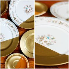 The Pretty Life Girls: PLG DIY: Gold-Dipped Vintage Plates
