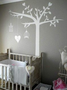 Baby Nursery DIY...love the crib and wall painting