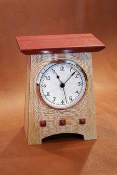 Quarter-Sawn Sycamore & Padauk Clock Handmade Wall Clocks, Rustic Wall Clocks, Mantel Clocks, Old Clocks, Antique Clocks, Craftsman Clocks, Craftsman Furniture, Clock Ideas, Diy Clock