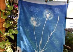 Sun printing on fabric and paper - dandelion clocks, indeed!