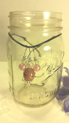 Pink glass bead necklace by SnoBirdBeads on Etsy