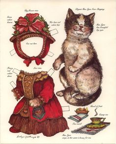 Hundreds of antique paper dolls and paper toys to make - Joyce hamillrawcliffe - Picasa Web Albums Paper Puppets, Paper Toys, Paper Dolls Printable, Paper Animals, Vintage Paper Dolls, Antique Dolls, Cat Art, Doll Toys, Art Dolls