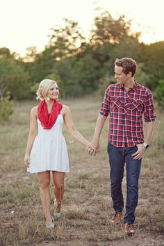 Love the white dress with red accents and pale blue shoes idea for engagement photos.