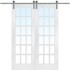 MMI DOOR Primed Hardboard Barn Door Hardware Included (Common: x Actual: x at Lowe's. MMI Door Interior French Barn Doors come with tempered glass for extra strength and safety. Each individual pane of glass contains a 1 in. Wood Barn Door, Glass Barn Doors, Glass French Doors, Barnwood Doors, Interior Closet Doors, Sliding Closet Doors, Sliding Barn Door Hardware, Door Hinges, French Door Sizes
