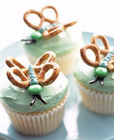 Butterfly Cupcakes  Candy heads, pretzel wings and licorice antennae really make these cute butterfly cupcakes fly.