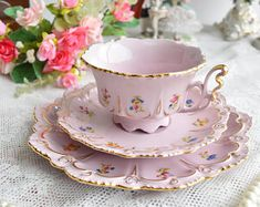 Vintage tea cup set floral porcelain Slav porcelain pink tea cup set HCH tea cups rose porcelain vintage tea set vintage teacup and saucer