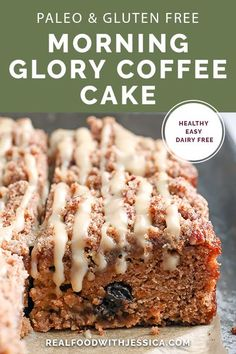 This Paleo Morning Glory Coffee Cake has a moist cake, thick crumb topping with buttery pecans and a sweet glaze. It's delicious while still being gluten free, dairy free, and naturally sweetened. #paleo #glutenfree #healthy #easyrecipe #dairyfree | realfoodwithjessica.com via @realfoodwithjessica Easy Gluten Free Desserts, Great Desserts, Gluten Free Baking, Low Carb Desserts, Dessert Recipes, Dessert Ideas, Paleo Recipes, Banana Coffee Cakes, Keto Friendly Desserts