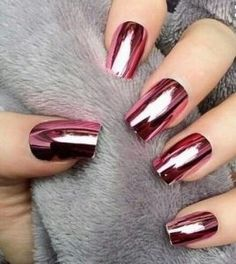 kokkina makria metalika nixia metal nails red shine