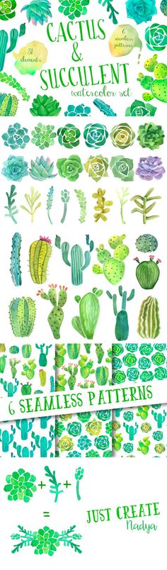 cacti cactus watercolor clip art aqua green