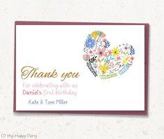"First birthday Thank you card, flower thank you card, Heart favor card, toddler birthday  - PRINTABLE, 4""x6"", girl birthday"