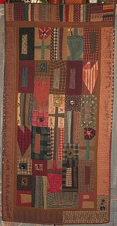 Patchwork Quilt  Cheri Payne quilt pattern Primitive Quilts, Primitive Stitchery, Primitive Crafts, Wool Quilts, Scrappy Quilts, Mini Quilts, Fabric Artwork, Basket Quilt, Penny Rugs
