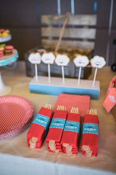 Themed utensils at an airplane birthday party! See more party planning ideas at CatchMyParty.com!