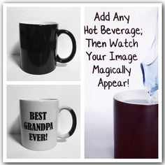 MAGIC MORPH Mugs -Heat Activated- Just add Hot Liquid -Your Image Appears -Add Your Favorite Images - Add a Custom Funny or Serious Message!  A Great Way To Share a Surprise! Great Party Gift! All Occasions!