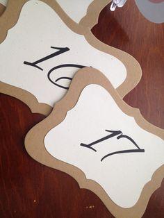 Bracket Shaped Table Number Vintage Bracket by EverlastingMoment  $3.5/each + shipping