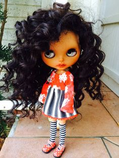RESERVED for Stacy Custom Brown Blythe Doll OOAK by EmmyBlythe