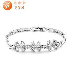Fashion Platinum Plated Cuff Bracelet for Women AAA Cubic Zircon Romantic Flower Bride Bangle Bracelet Wholesale BR0061