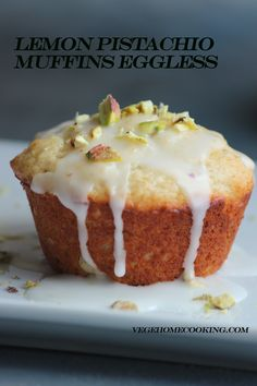 Lemon Pistachio Muffins Eggless are moist, tender, citrusy, refreshing and very delicious. These muffins are bursting with tangy lemony flavour and nutty pistachio flavour. Eggless Desserts, Eggless Recipes, Eggless Baking, Baking Recipes, Eggless Muffins, Vegan Recipes, Pistachio Muffins, Pistachio Cake, Brownie Recipes