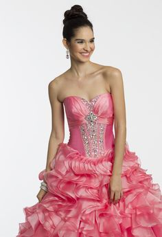 Crystal Organza and Rhinestone Pink Dress for prom, sweet sixteen party or quinceanera by Camille La Vie