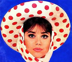 vintagefashionandbeauty:  Colleen Corby models a polka-dotted hat and scarf, c. mid-60s. (♥)