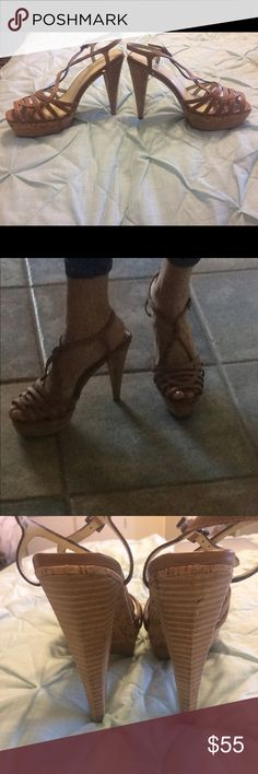"""Max Studio """"Rianna"""" Heels - Size 8 """"Rianna"""" strappy heels. Very comfortable. Leather Rubber sole Heel measures approximately 4 3/4"""" Platform measures approximately 1 1/2"""" These are gorgeous on and go great with jeans, dresses, capris and skirts!! Like brand new! Max Studio Shoes Platforms"""