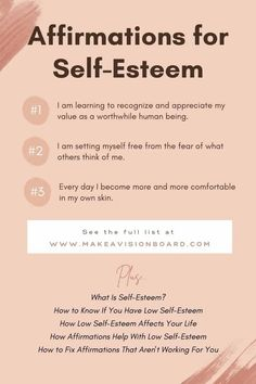 If you have low self-esteem, and most of us do, here's help! Find out all about this common problem and how affirmations can be a useful tool for boosting your self-esteem. We'll even tell you how to fix affirmations that aren't working for you. Self Esteem Issues, Low Self Esteem, Negative Self Talk, Negative Thoughts, Positive Outlook, Positive Attitude, What Is Self, Set Me Free, Self Confidence