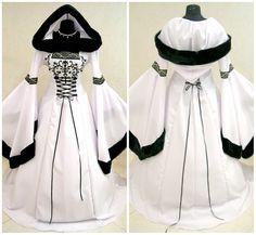 Fur Medieval dress S-M 10-12-14 gothic costume witch Tudor LARP wicca fancy LOTR wedding X-mas celtic vampire elven victorian tudor robe
