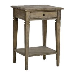 Weathered Wood French Side Table - Provence Chic   bedroom