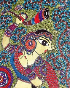 Madhubani is a beautiful form of art, famous across the globe. Bharti Dayal, creates masterpieces and spreads awareness of this art form across the world. Madhubani Art, Madhubani Painting, Mural Painting, Fabric Painting, Traditional Paintings, Traditional Art, Indian Art Paintings, Easy Paintings, Indian Folk Art