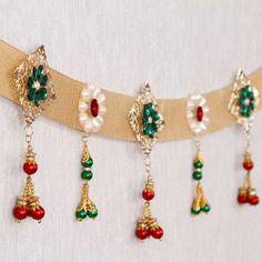 Bandhanwar with Stone & Pearl Work Door Hanging Decorations, Diwali Decorations At Home, Handmade Decorations, Flower Decorations, Diwali Diy, Diwali Craft, Diwali Gifts, Indian Rangoli Designs, Rangoli Ideas