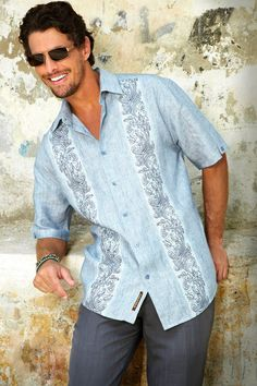 Shop our men's apparel collection for guayabera shirts, men's linen pants, casual linen shirts, suits and beach clothes. Linen Beach Pants, Guayabera Shirt, Tropical Fashion, Wedding Shirts, Well Dressed Men, Mens Clothing Styles, Dress Codes, Casual Shirts, Cool Outfits