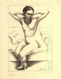 Diego Rivera, Nude with beads (Frida Kahlo), Lithograph. Copyright Banco de Mexico Diego Rivera & Frida Kahlo Museums Trust, Mexico D. Frida Kahlo Diego Rivera, Diego Rivera Art, Frida And Diego, Natalie Clifford Barney, Statues, Frida Art, Mexican Artists, City Art, Mexico City