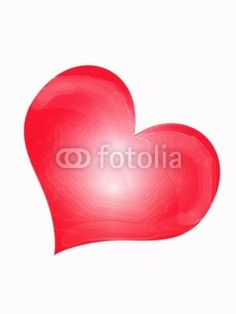 Red heart on white background with reflections