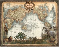 "World Map Art Print $17.99 - 20"" x 16"""
