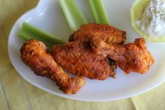 These are baked buffalo wings, guys. So good!